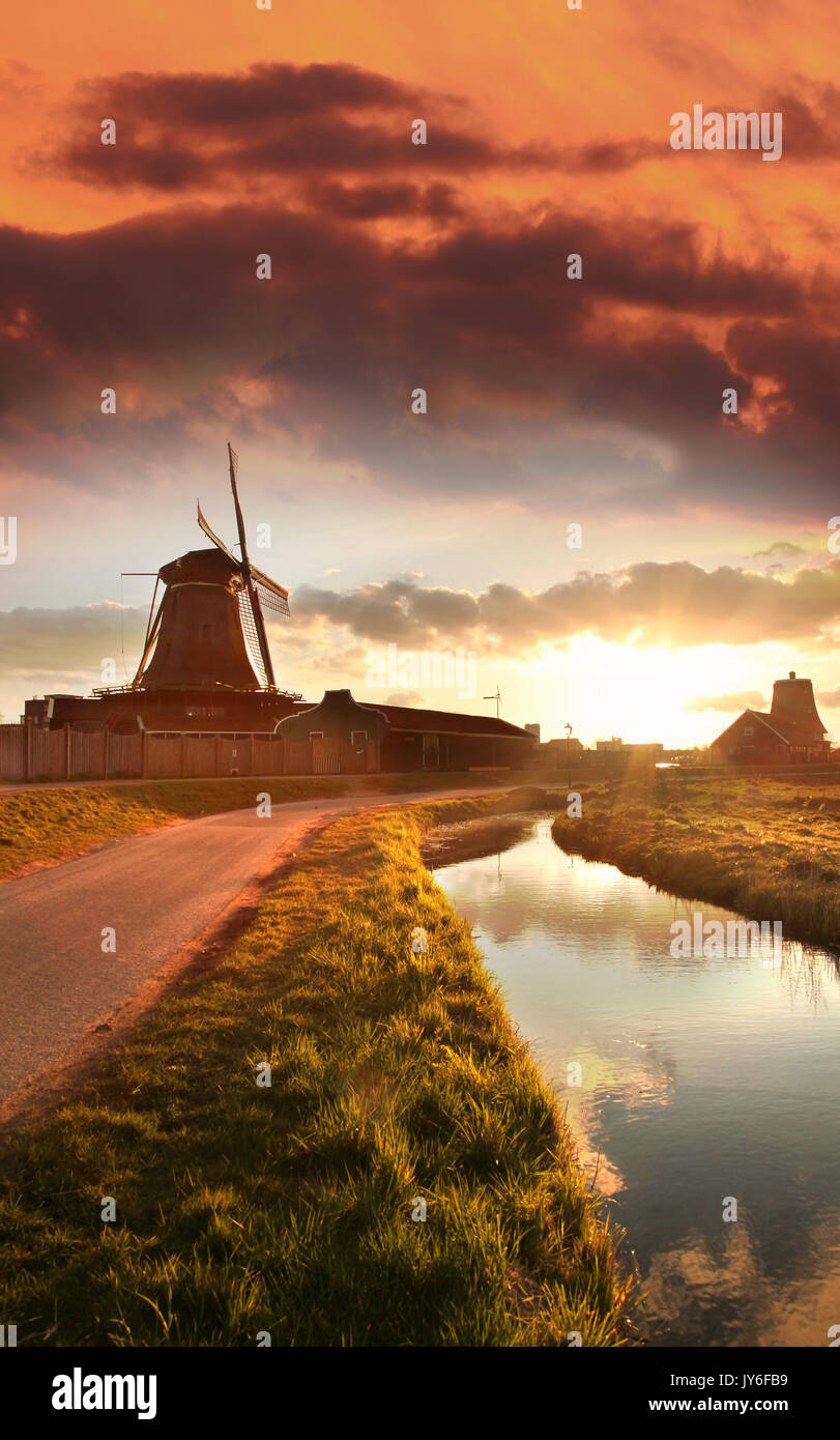 Traditional Dutch windmill in Zaanse Schans, Amsterdam area, Holland - Stock Image