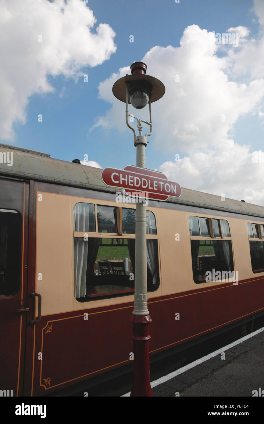 The dining car of what was a Pullman railway carriage now at Cheddleton station, home of Churnet Valley steam Railway - Stock Image