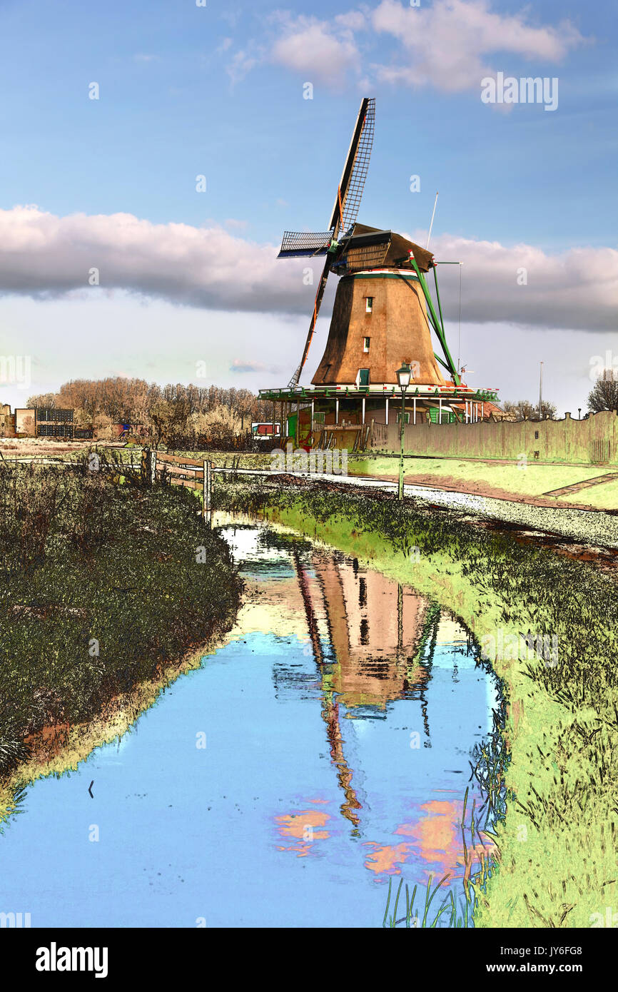 Traditional Dutch windmill in Zaanse Schans, Amsterdam area, Holland,(Art style with painted foreground) - Stock Image