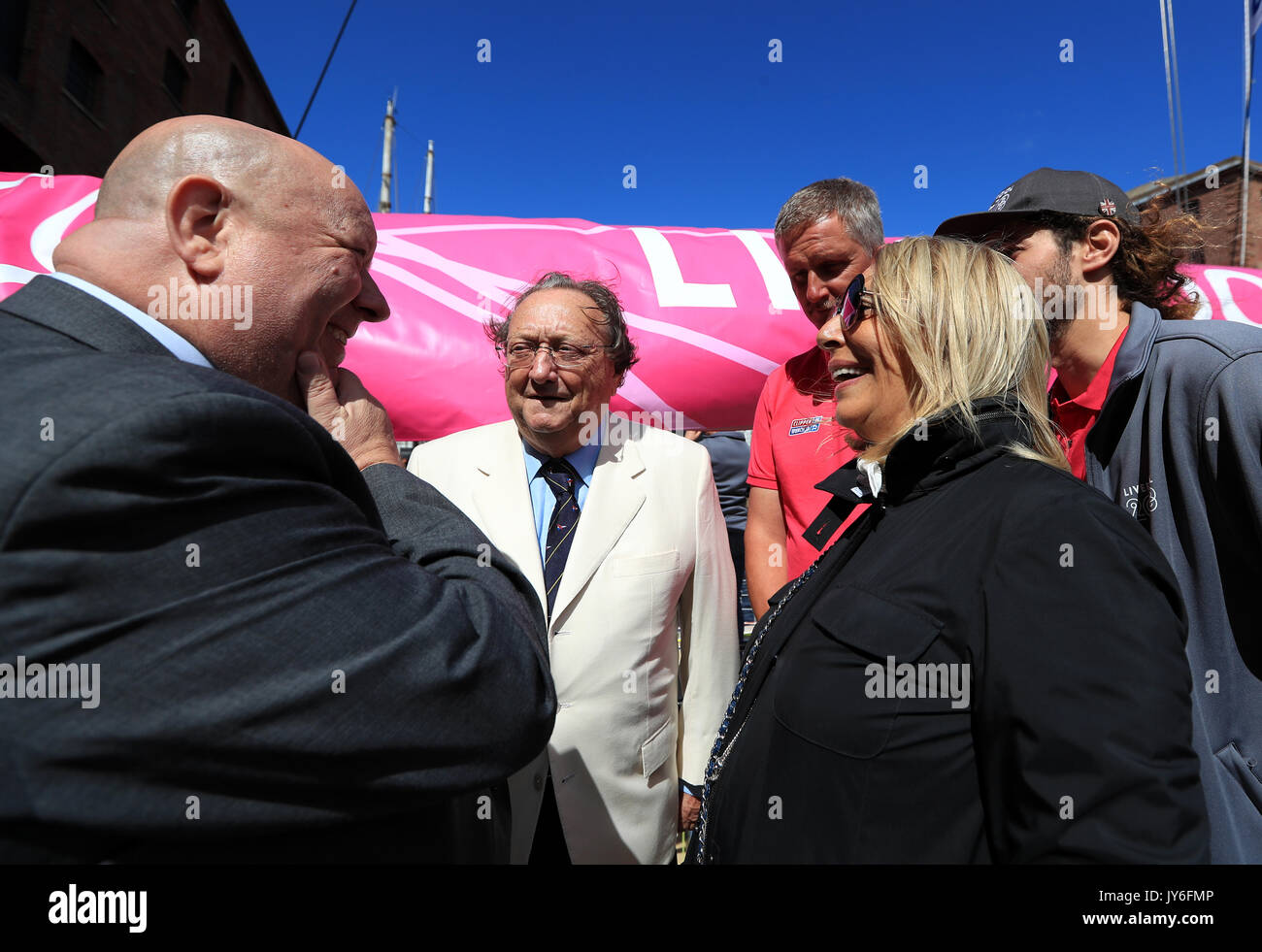 Mayor of Liverpool Joe Anderson and guests at Albert Docks, Liverpool ahead of this Sunday's start of the Clipper Round the World yacht race. PRESS ASSOCIATION Photo. Picture date: Friday August 18, 2017. Photo credit should read: Tim Goode/PA Wire - Stock Image