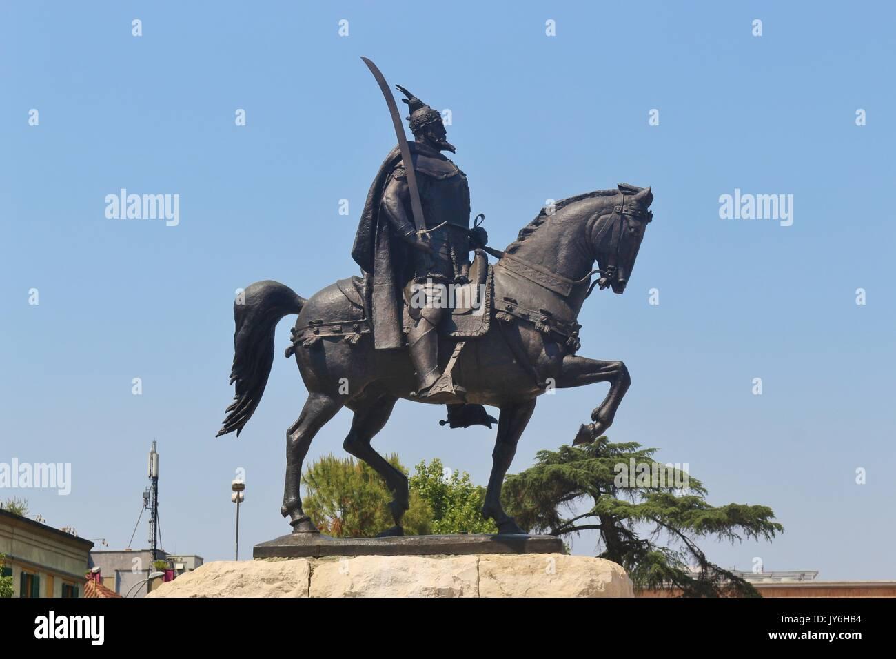 Tirana, Albania: Statue of Skanderbeg or Gjergj Kastrioti who fought against the empire in the 15th century. On the Skanderbeg square. - Stock Image