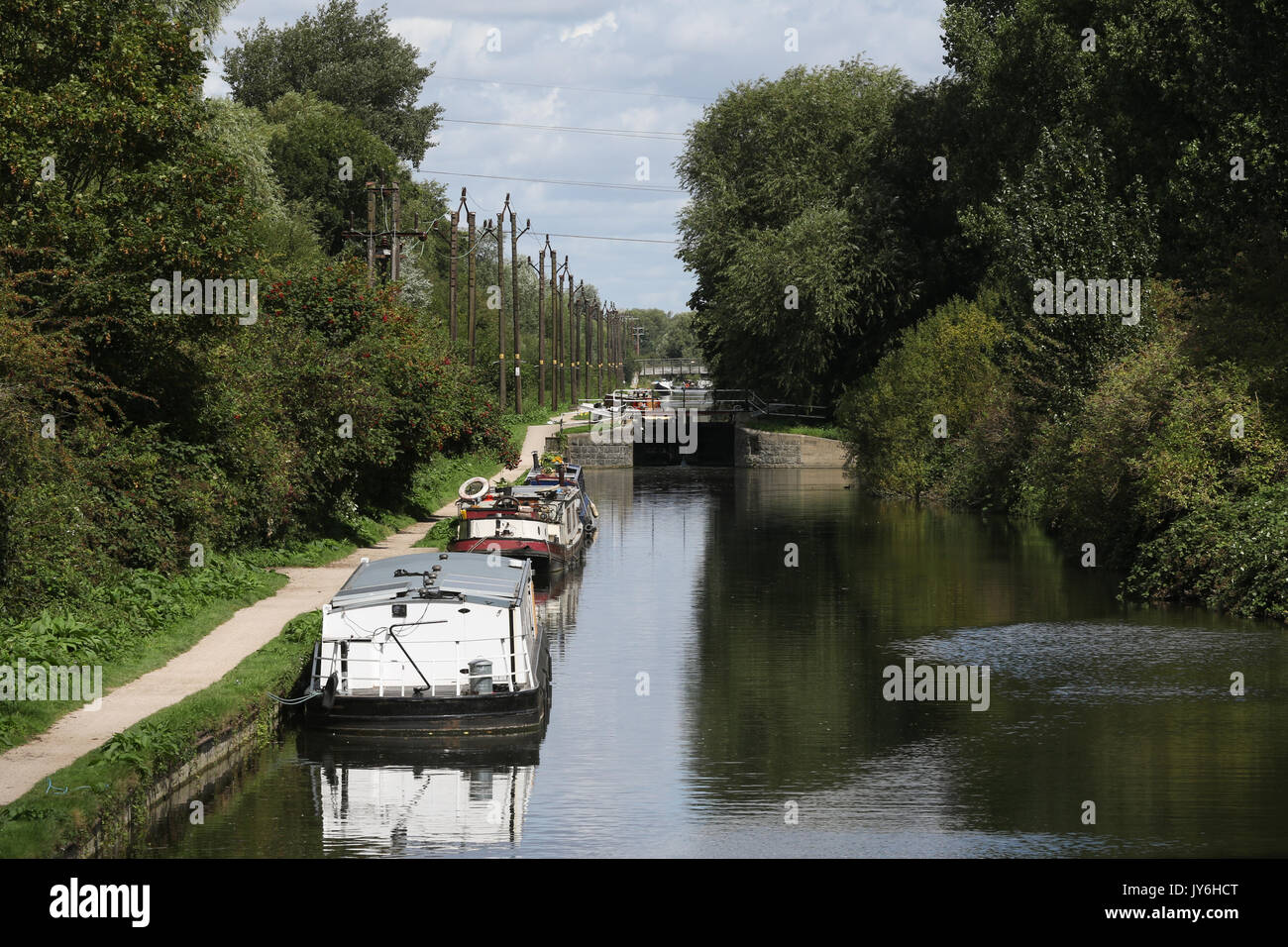 Summer scene at Cheshunt Lock on the River Lee Navigation in England. - Stock Image