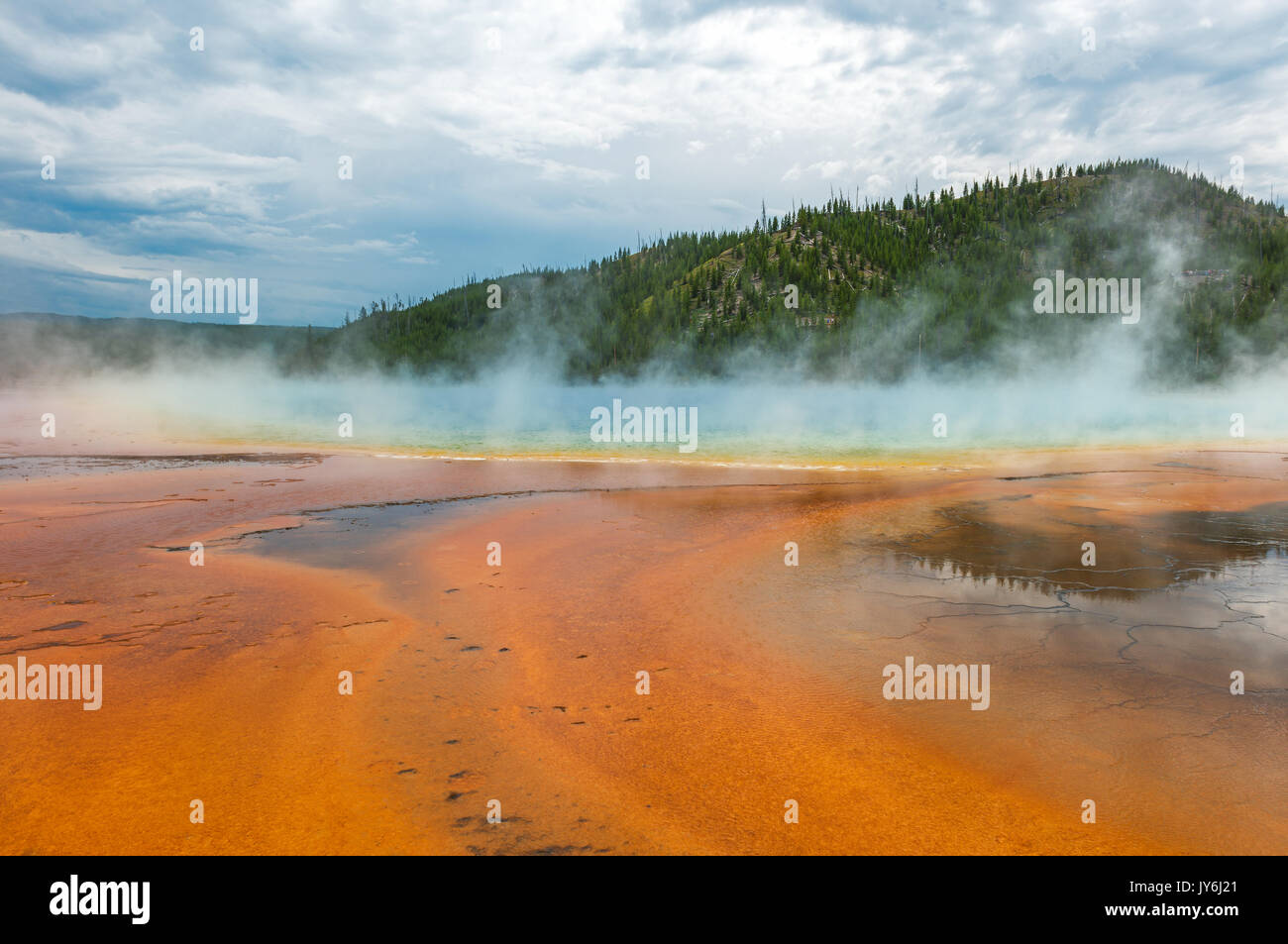 The majestic and colourful hot spring of the Grand Prismatic Spring inside Yellowstone National Park, Wyoming, USA. - Stock Image