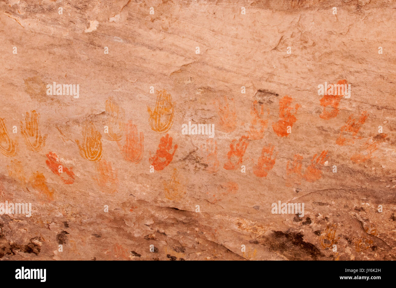 North America; United States; Utah;  Canyonlands National Park; Cave Spring; Ancient pictographs, Hand Prints, - Stock Image