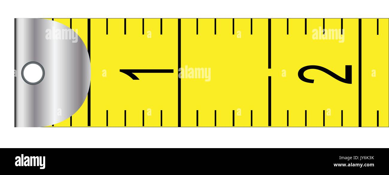 The first portion from a rag metric tape measure. - Stock Vector