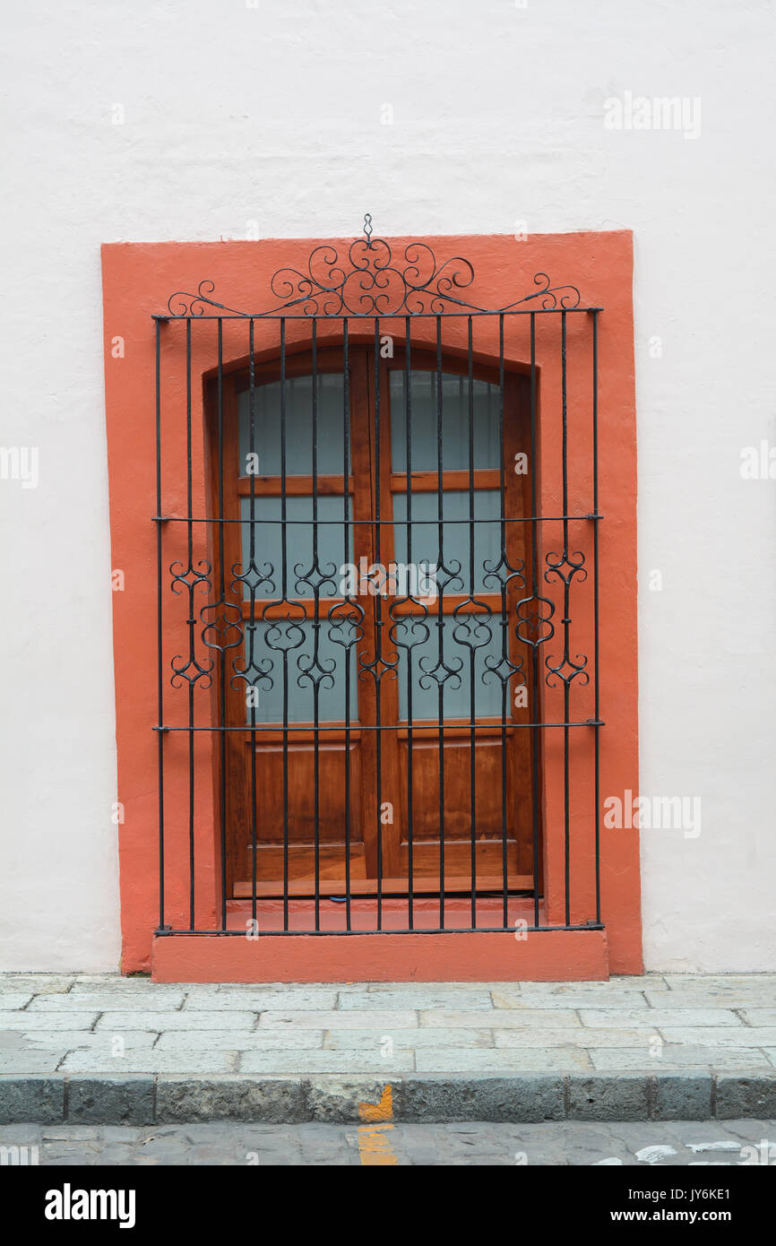 Typical window from Oaxaca, Mexico. This how all windows in Oaxaca city looks like. - Stock Image