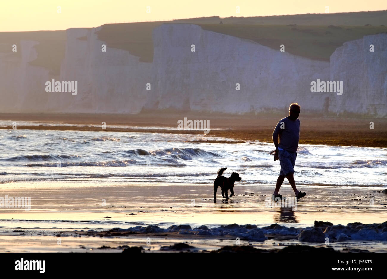 Man and his dog walking on the beach near the iconic Seven Sisters chalk cliffs, East Sussex. - Stock Image