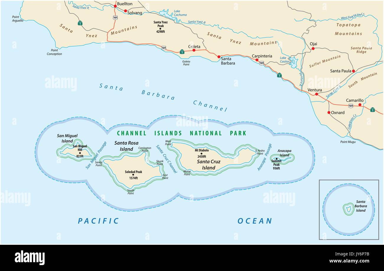 Channel Islands Map Map of the Channel Islands National Park Stock Vector Art  Channel Islands Map
