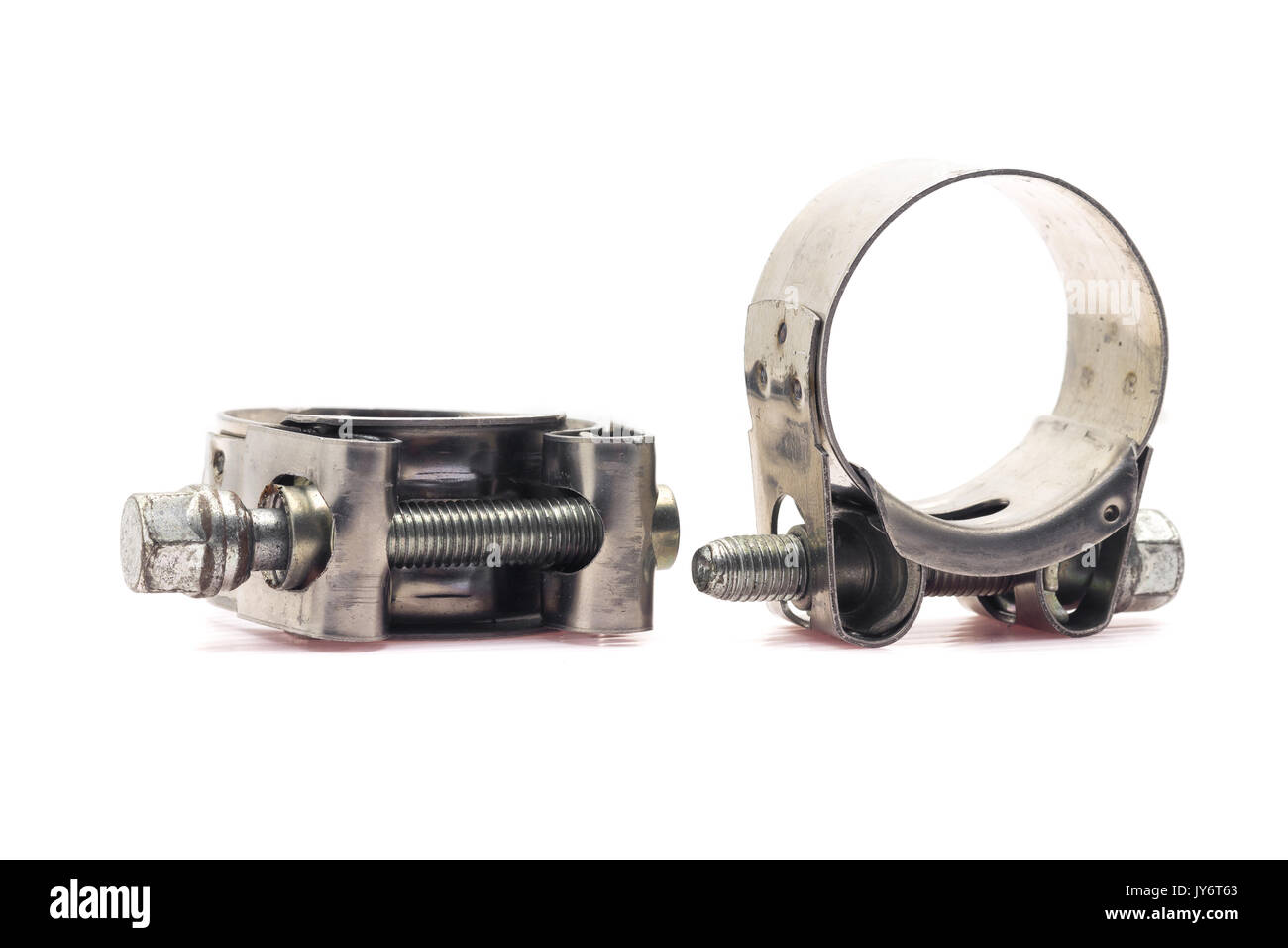 Close up a big hose cl& on white background.  sc 1 st  Alamy & Close up a big hose clamp on white background Stock Photo: 154429355 ...