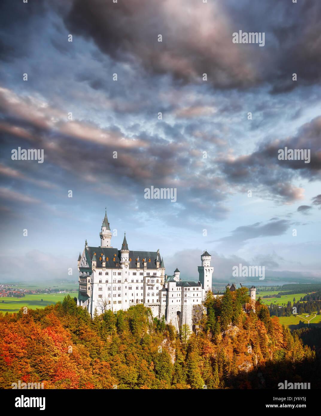 Famous Neuschwanstein castle in Bavaria, Germany - Stock Image