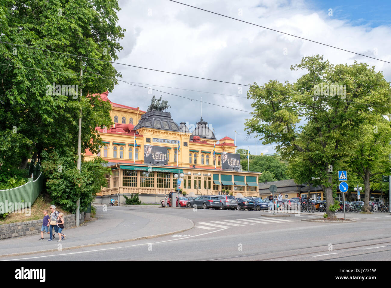 Cirkus arena at Djurgarden  in Stockholm. Djurgarden is a recreational area with historical buildings, monuments, amusement park and open-air museum. - Stock Image