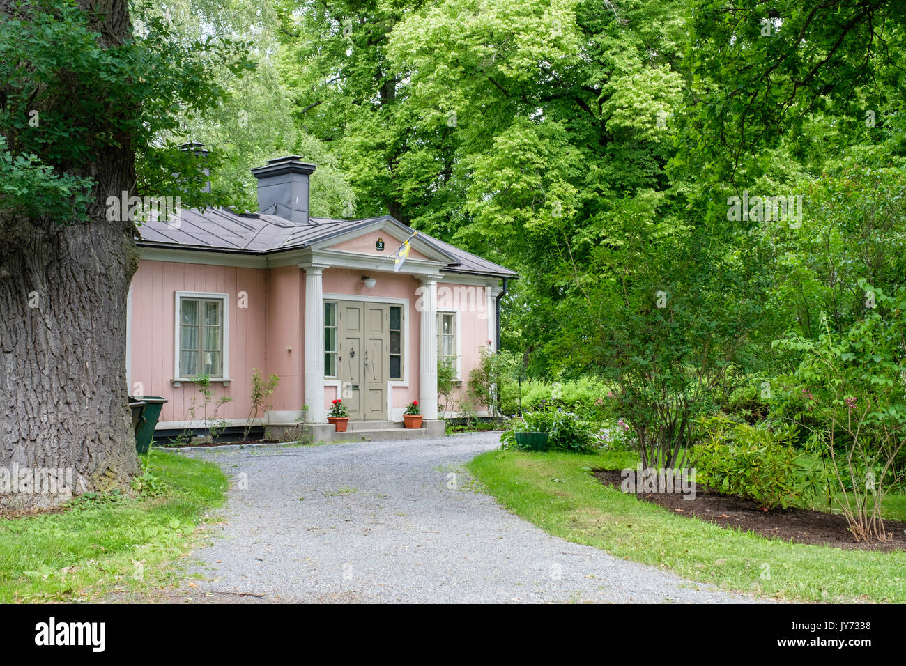Historic residential building at Djurgarden in Stockholm. Djurgarden is a recreational area. - Stock Image