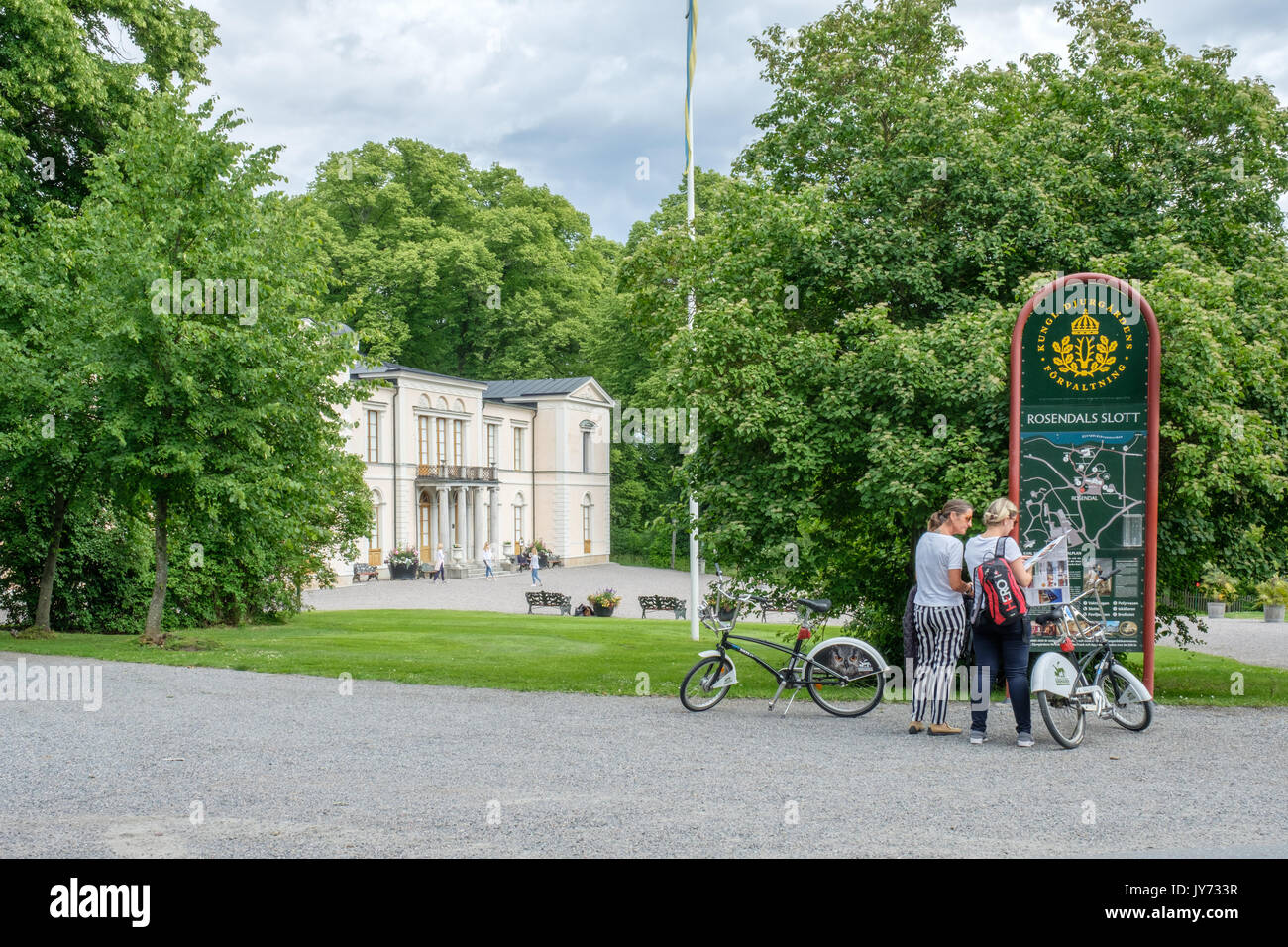 Rosendal palace in Stockholm. Rosendal palace located in the recreational area of Djurgarden is one of 11 Royal palaces in Sweden. - Stock Image