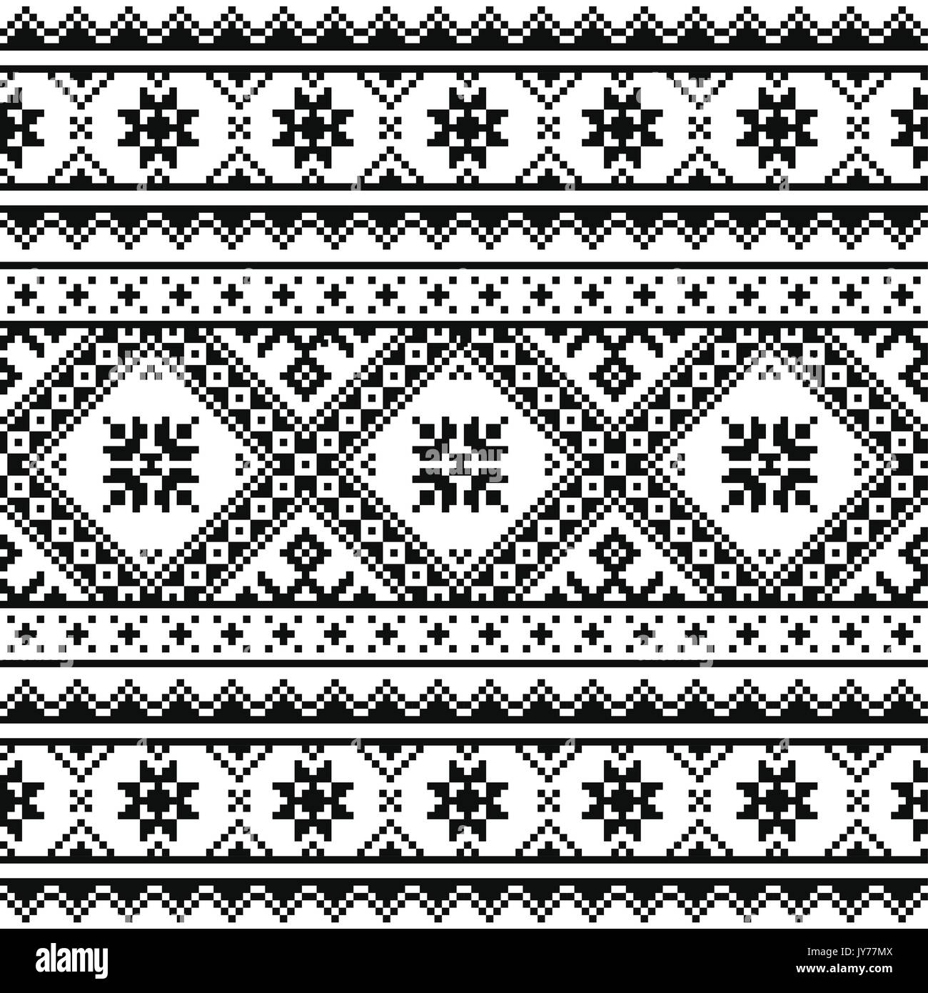 Traditional folk knitted red embroidery pattern from Ukraine or Belarus    Ethnic seamless Ukrainian print in black on white background - Stock Image