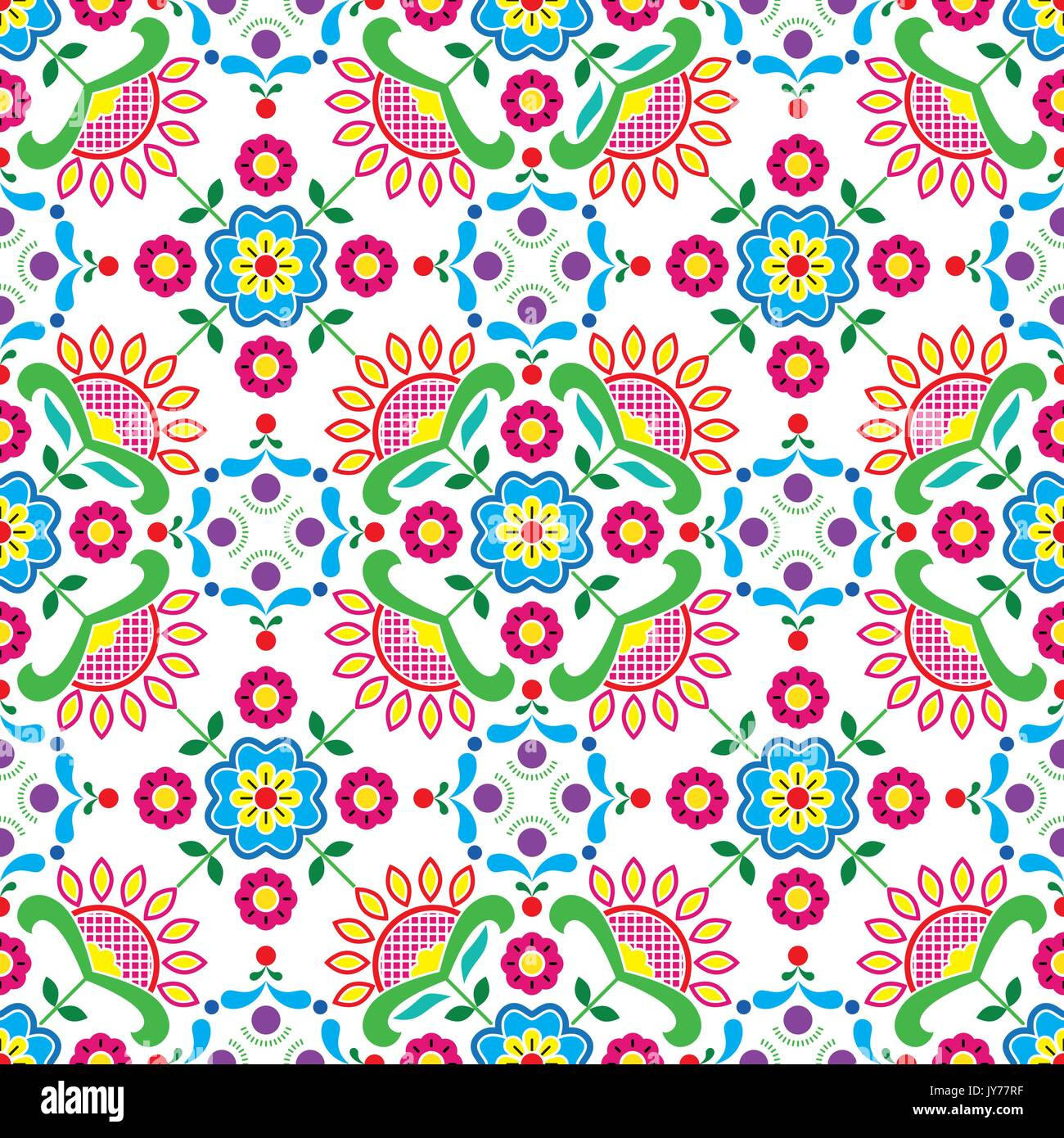Seamless Norwegian traditional folk art Bunad pattern - Rosemaling style embroidery       Vector colorful background, Stock Vector