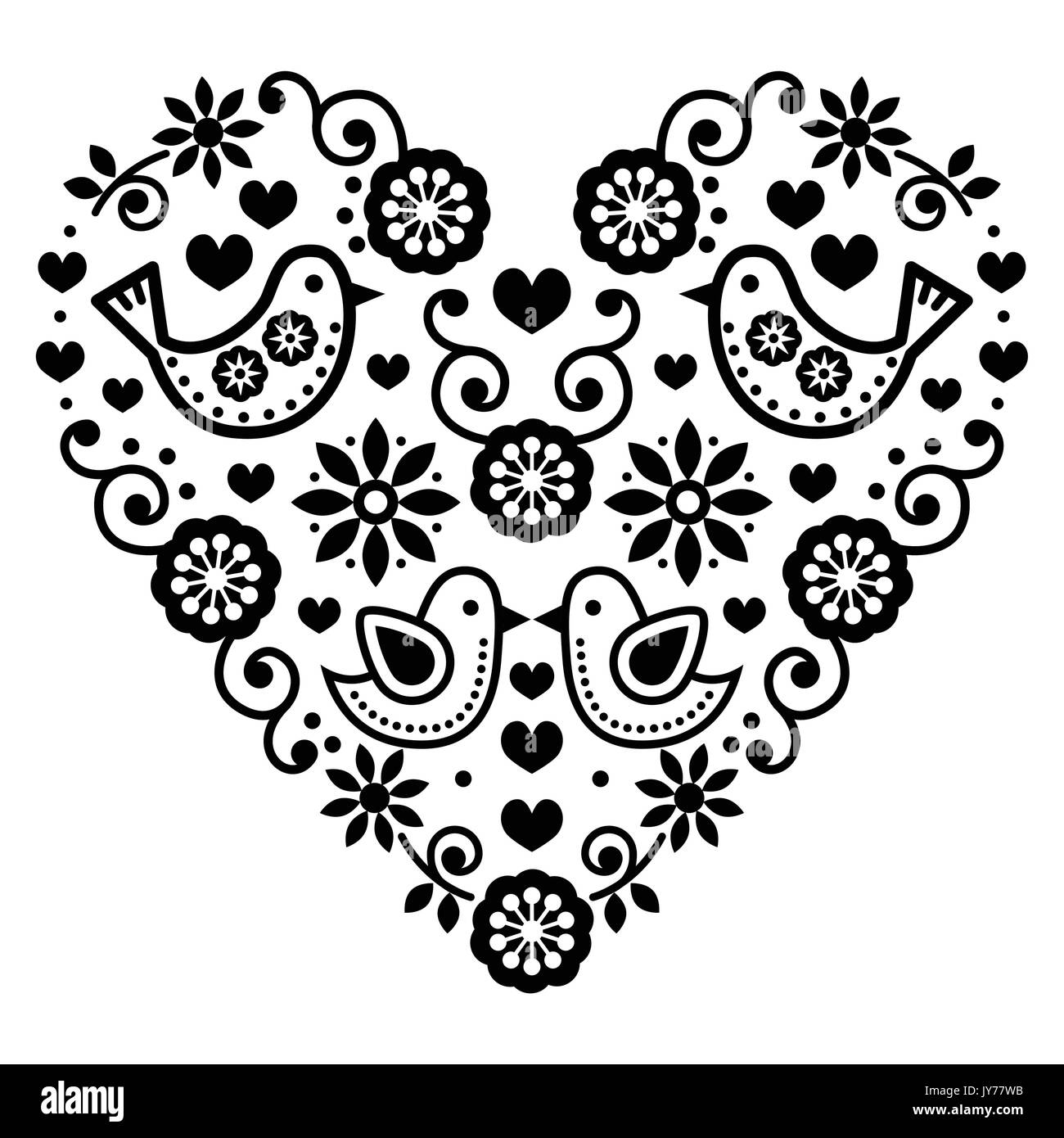 Folk art valentines day heart love wedding birthday greetings folk art valentines day heart love wedding birthday greetings card vector black folk heart with flowers and birds isolated on white kristyandbryce Gallery