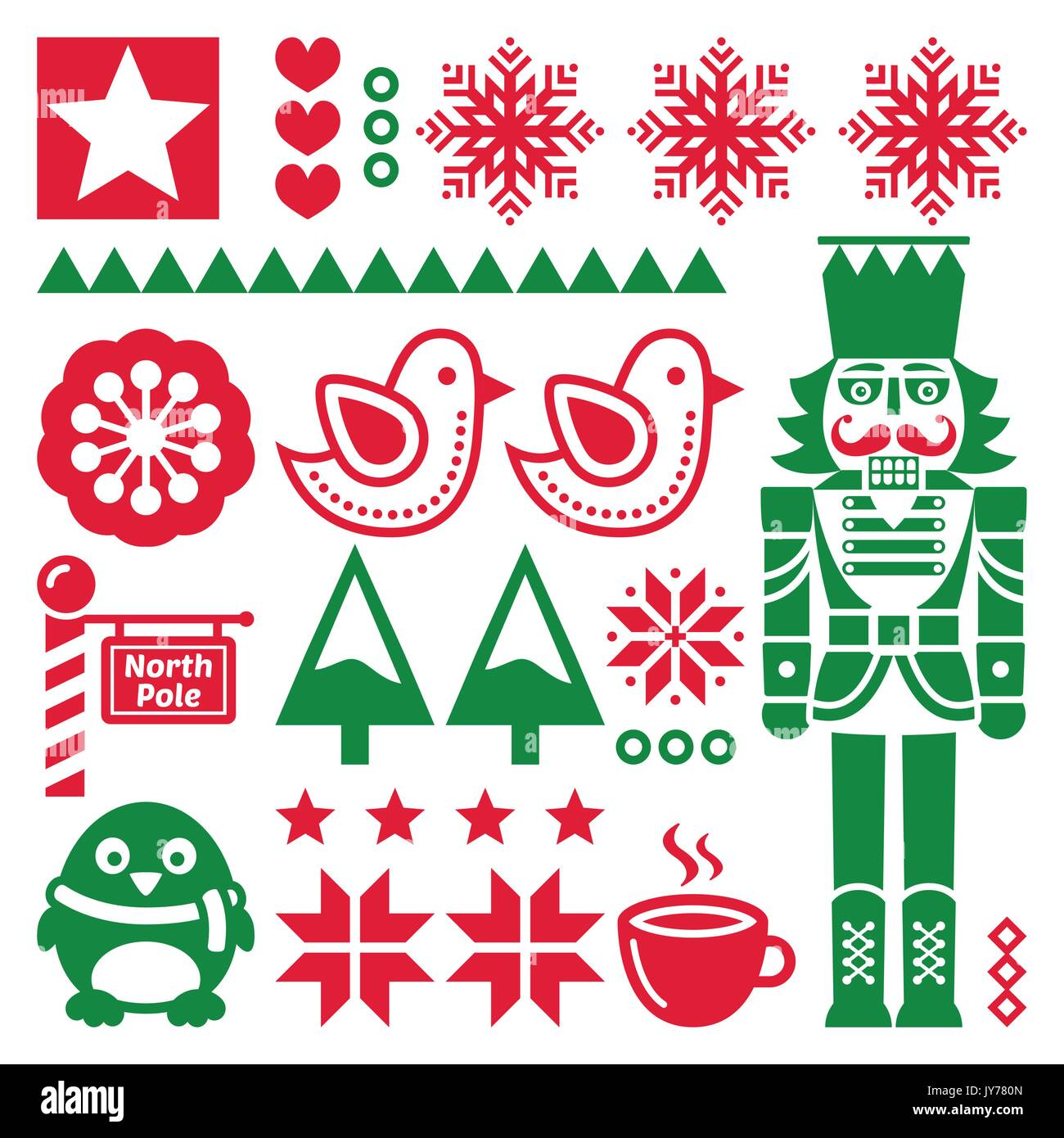 Christmas Pattern.Christmas Seamless Red Pattern With Nutcracker Folk Art