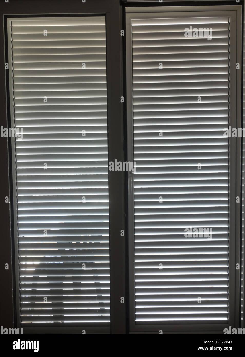 Closed Jalousie Door   Stock Image