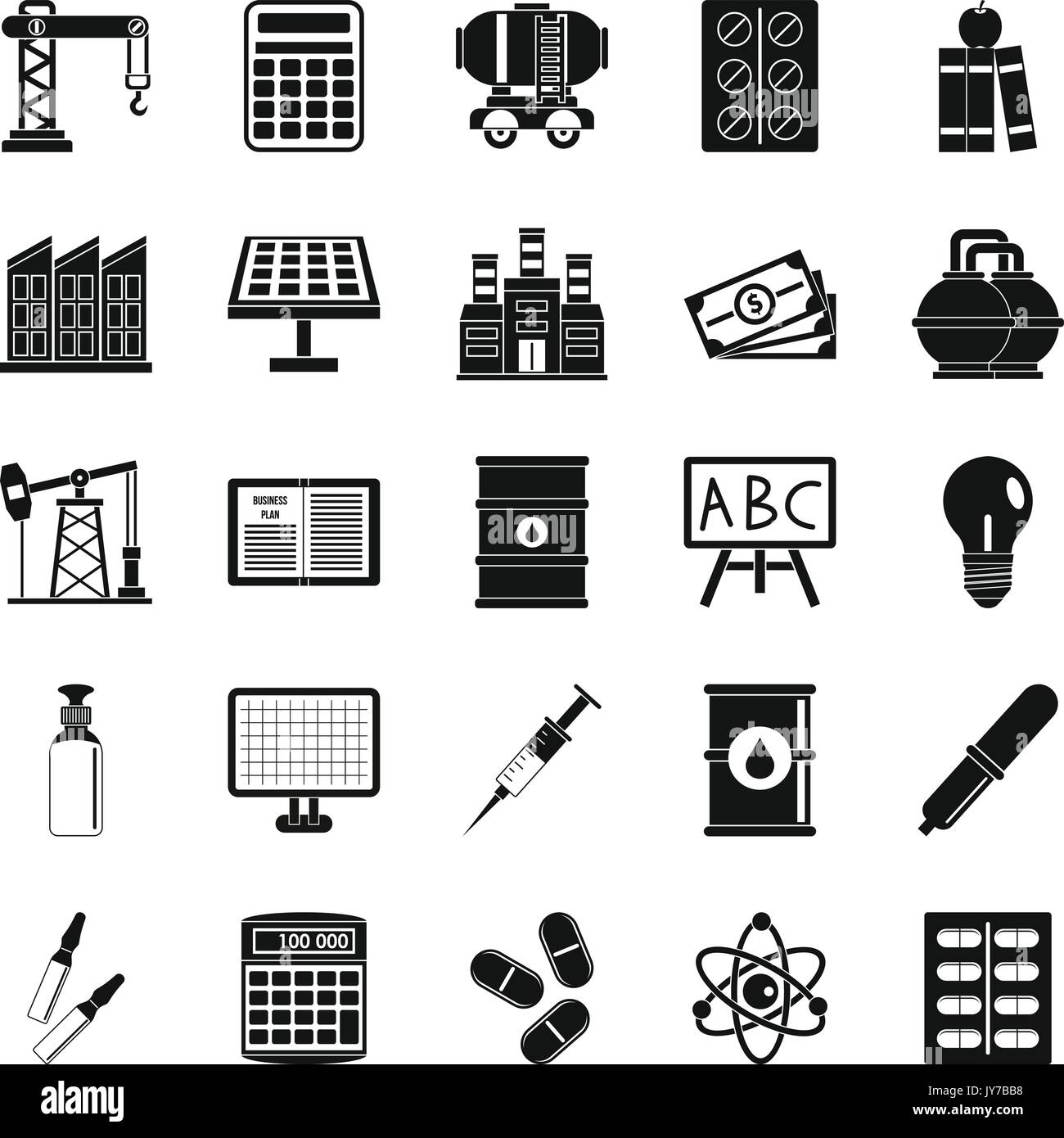 Outlay icons set, simple style Stock Vector