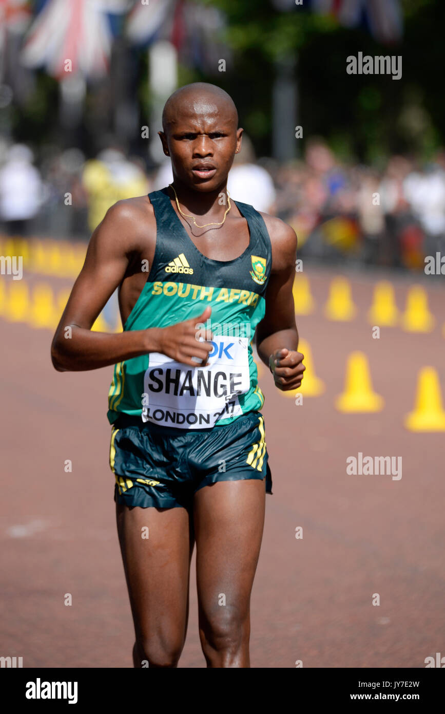 Lebogang Shange of South Africa competing in the IAAF World Athletics Championships Men's 20k walk in The Mall, Stock Photo