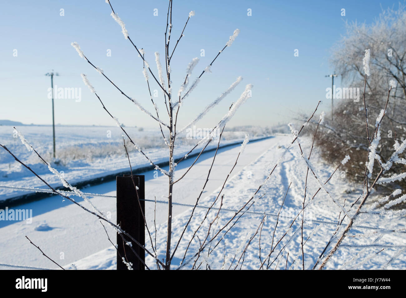 Snowy landscape of Boothstown - Stock Image