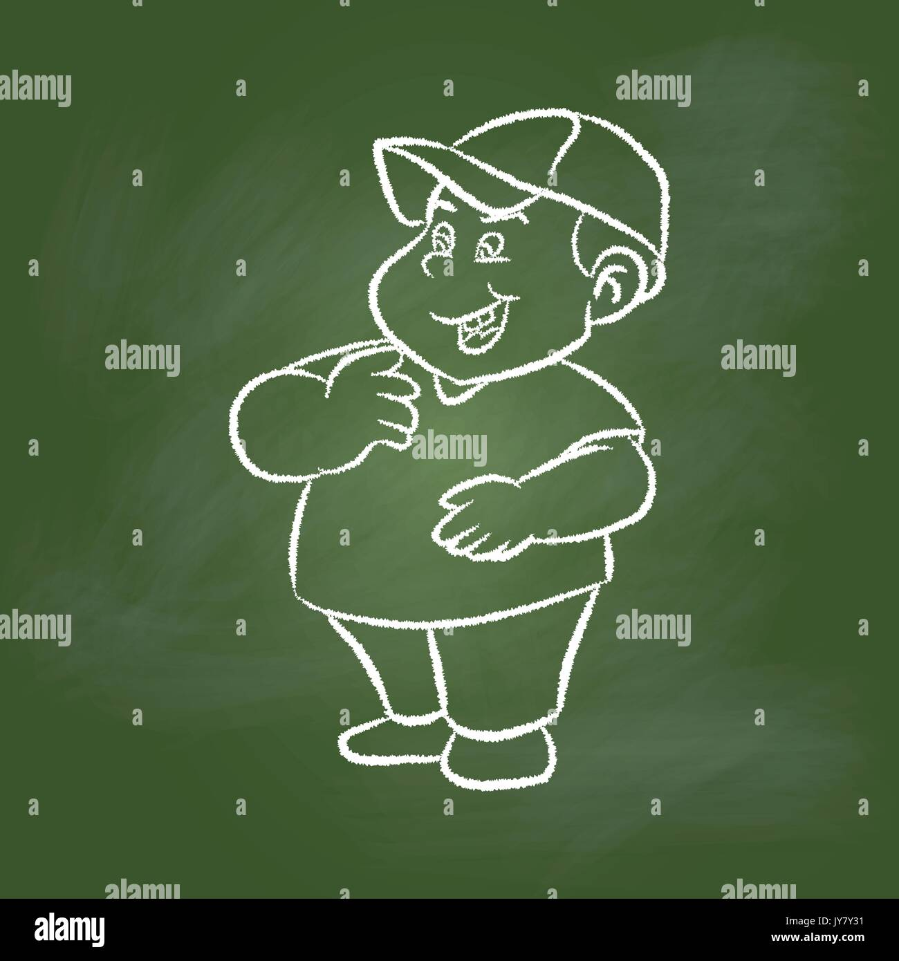 Hand Drawing Of A Fat Boy On Textured Green Board Education Concept Vector Illustration