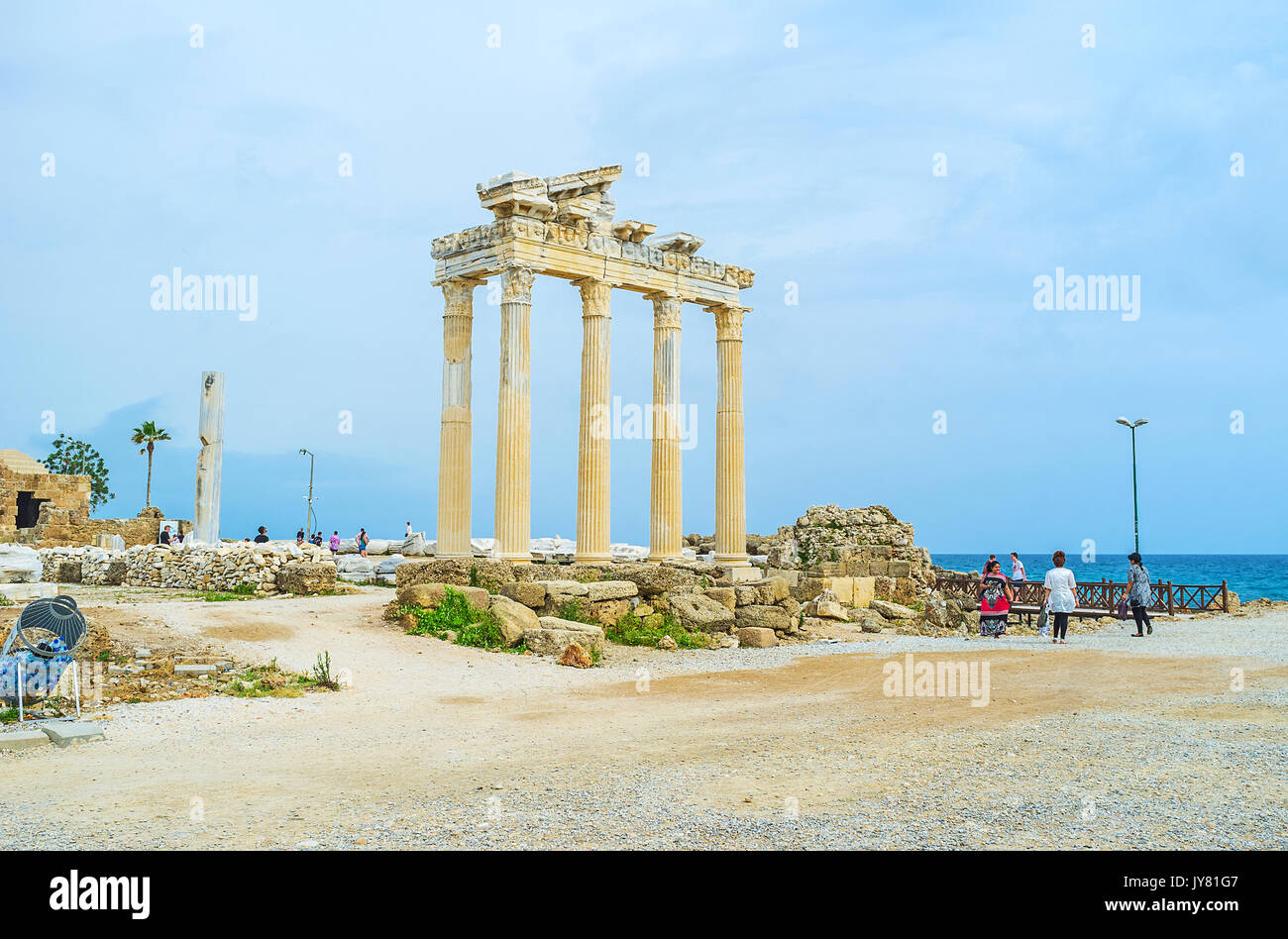 SIDE, TURKEY - MAY 8, 2017: Remains of the ancient Greek city of Side - the ruins of Apollo Temple on the coast of peninsula, on May 8 in Side, Turkey - Stock Image
