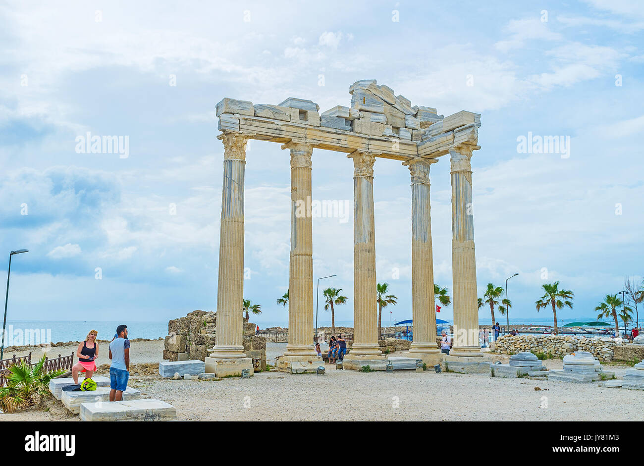 SIDE, TURKEY - MAY 8, 2017: Preserved columns of the ancient Apollo Temple, located on the coast of resort, at the end of Side peninsula, on May 8 in  - Stock Image