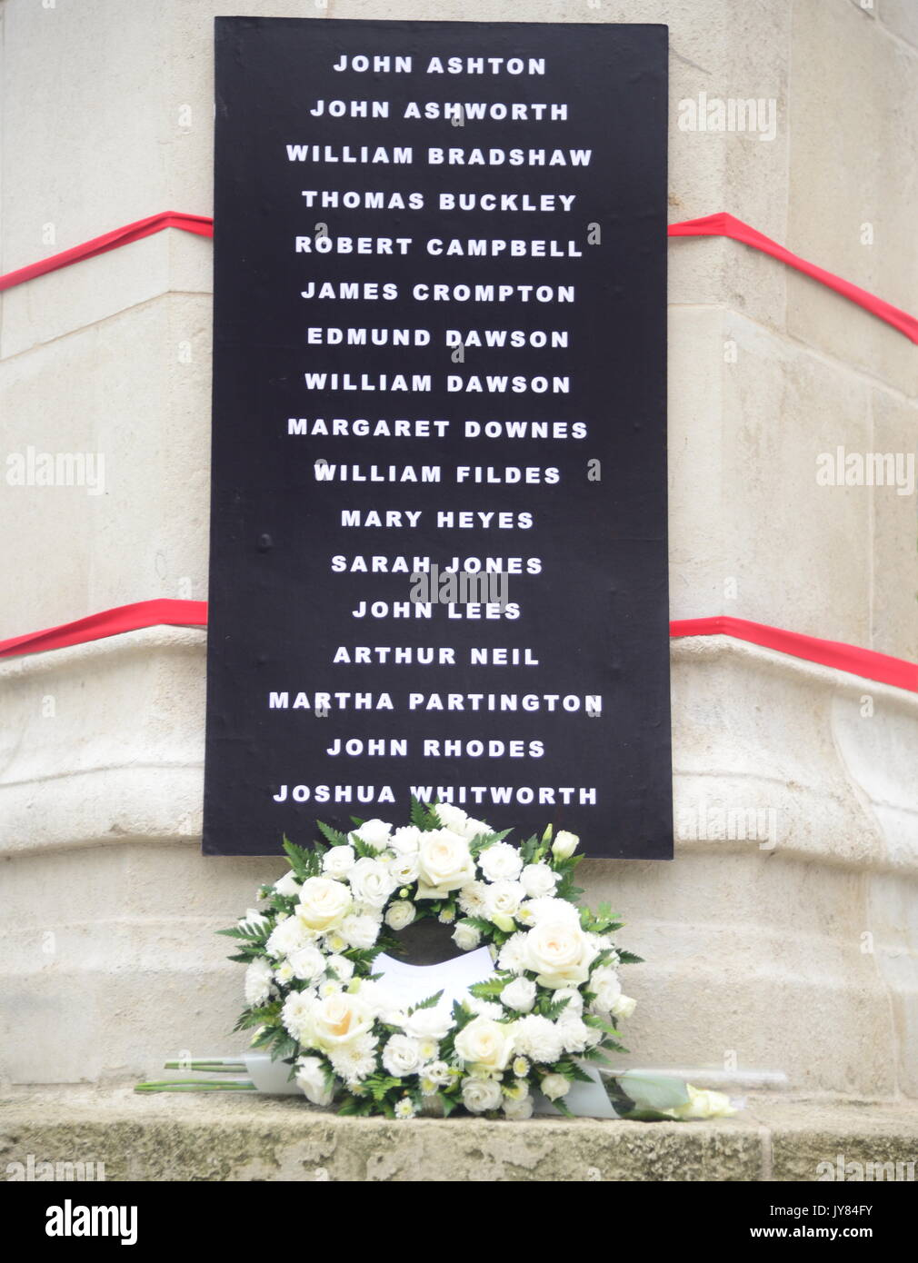 Peterloo memorial flowers and names Stock Photo