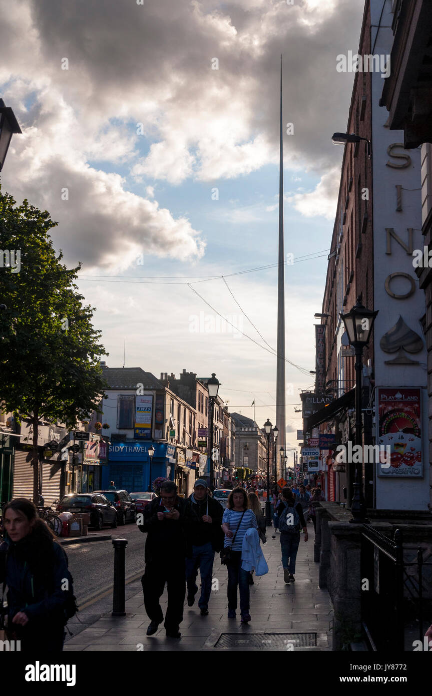 The Spire of Dublin, alternatively titled the Monument of Light, is a large, stainless steel, pin-like monument 120 metres in height, located on the s - Stock Image