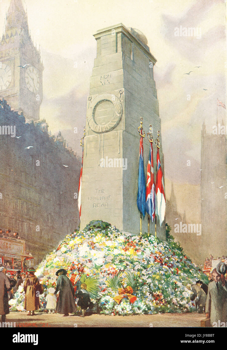 1921 illustration of Cenotaph in London - Stock Image