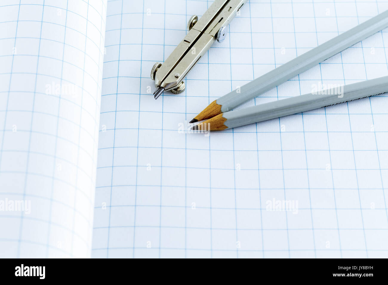 Drafting Compass and pencil - Stock Image