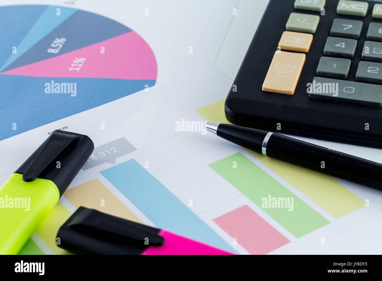 Financial Accounting With Stats Stock Photos & Financial