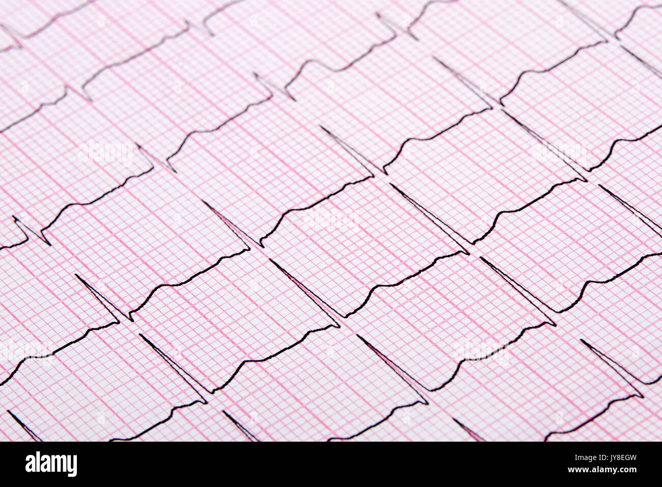 Close up of a Electrocardiograph also known as a EKG or ECG graph - Stock Image