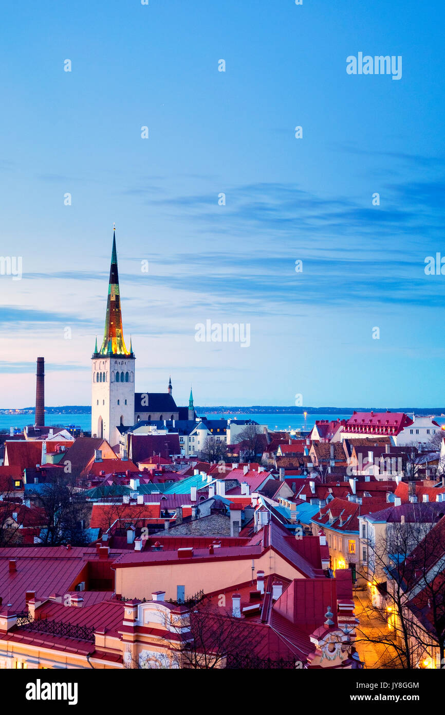 Panoramic view of Tallinn's Old City from the Kohtuotsa viewing platform, Tallinn, Estonia Stock Photo