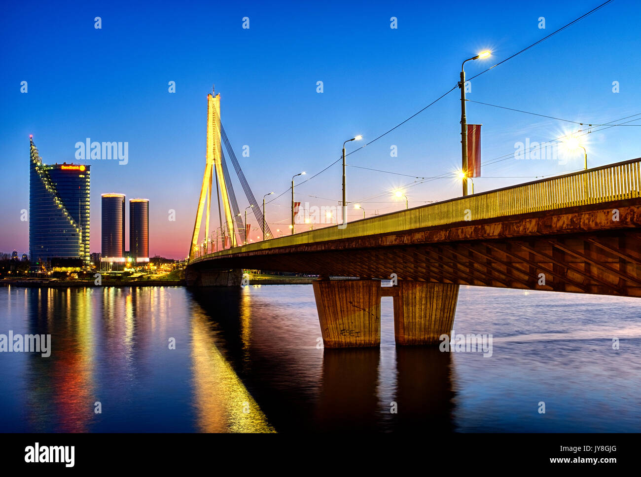 Vansu Bridge, Riga, Latvia - Stock Image