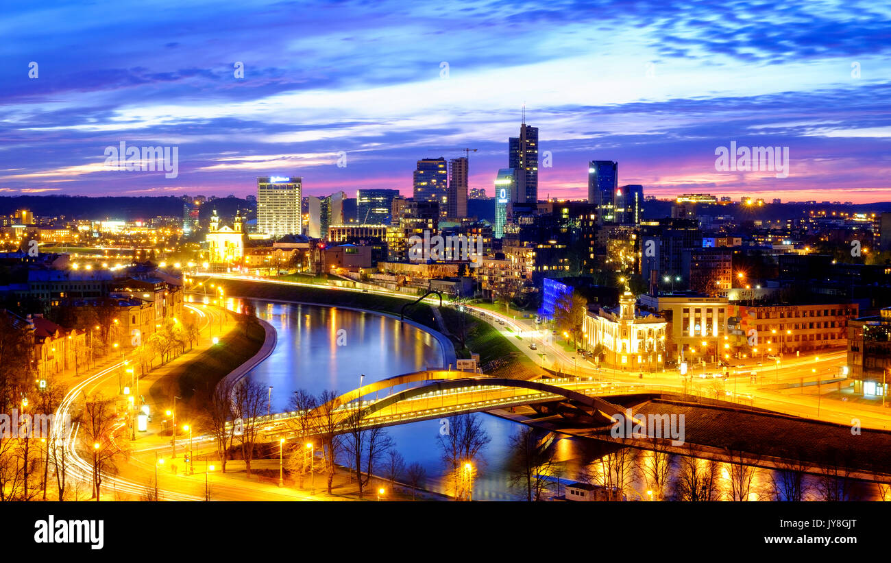 New center of Vilnius at sunset, Vilnius, Lithuania - Stock Image