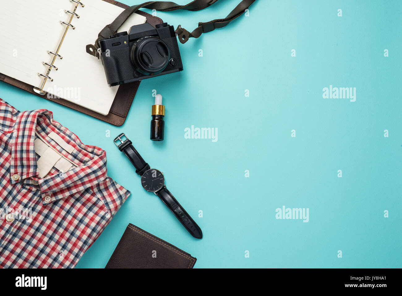Overhead view of men's casual outfits, Outfits of traveler Stock Photo