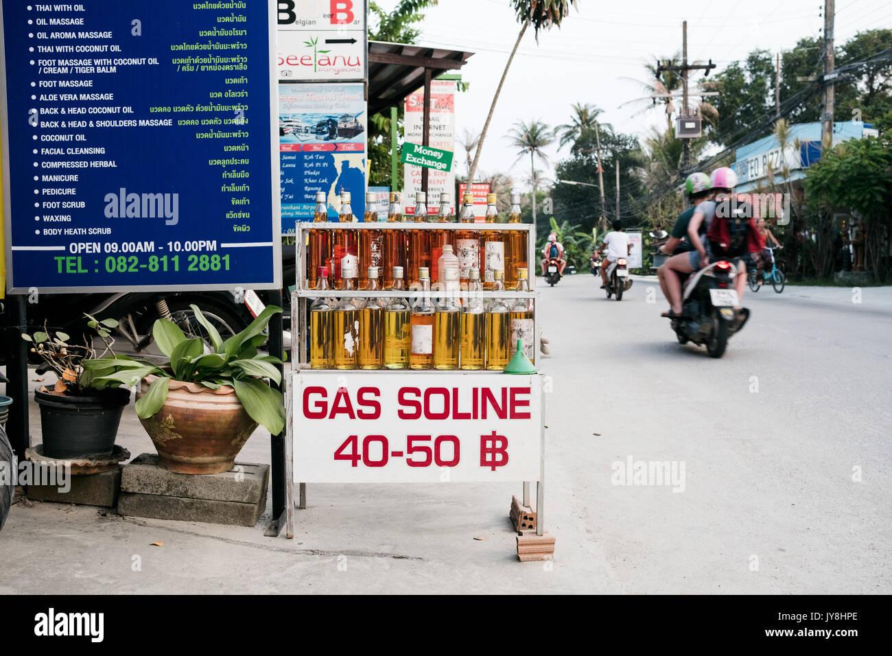 Ko Pha Ngan, Thailand - March 15, 2017. A small shop on the Ko Pha Ngan island selling bottles of gasoline. Stock Photo