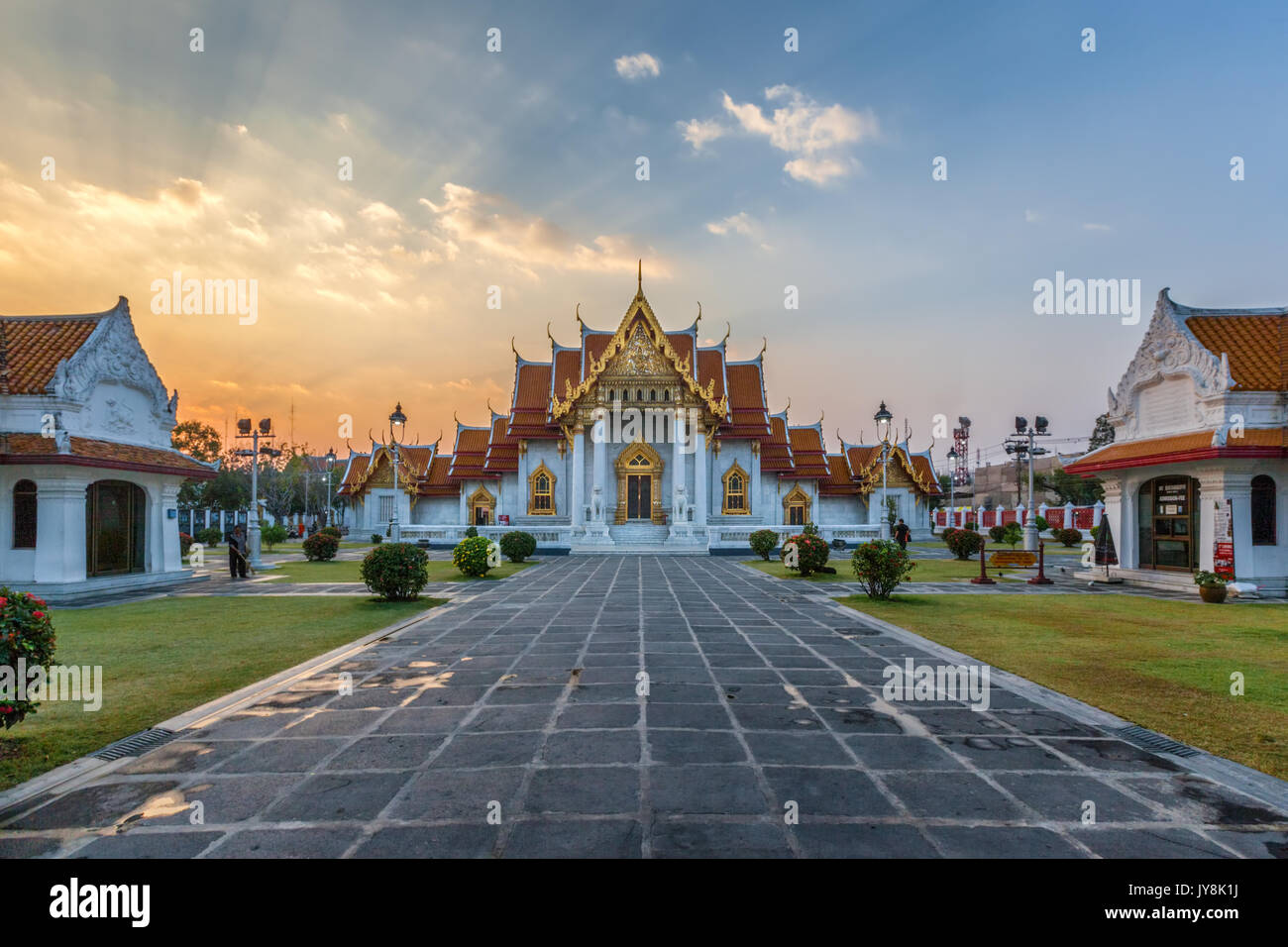 The Marble Temple at sunset, Bangkok, Thailand - Stock Image