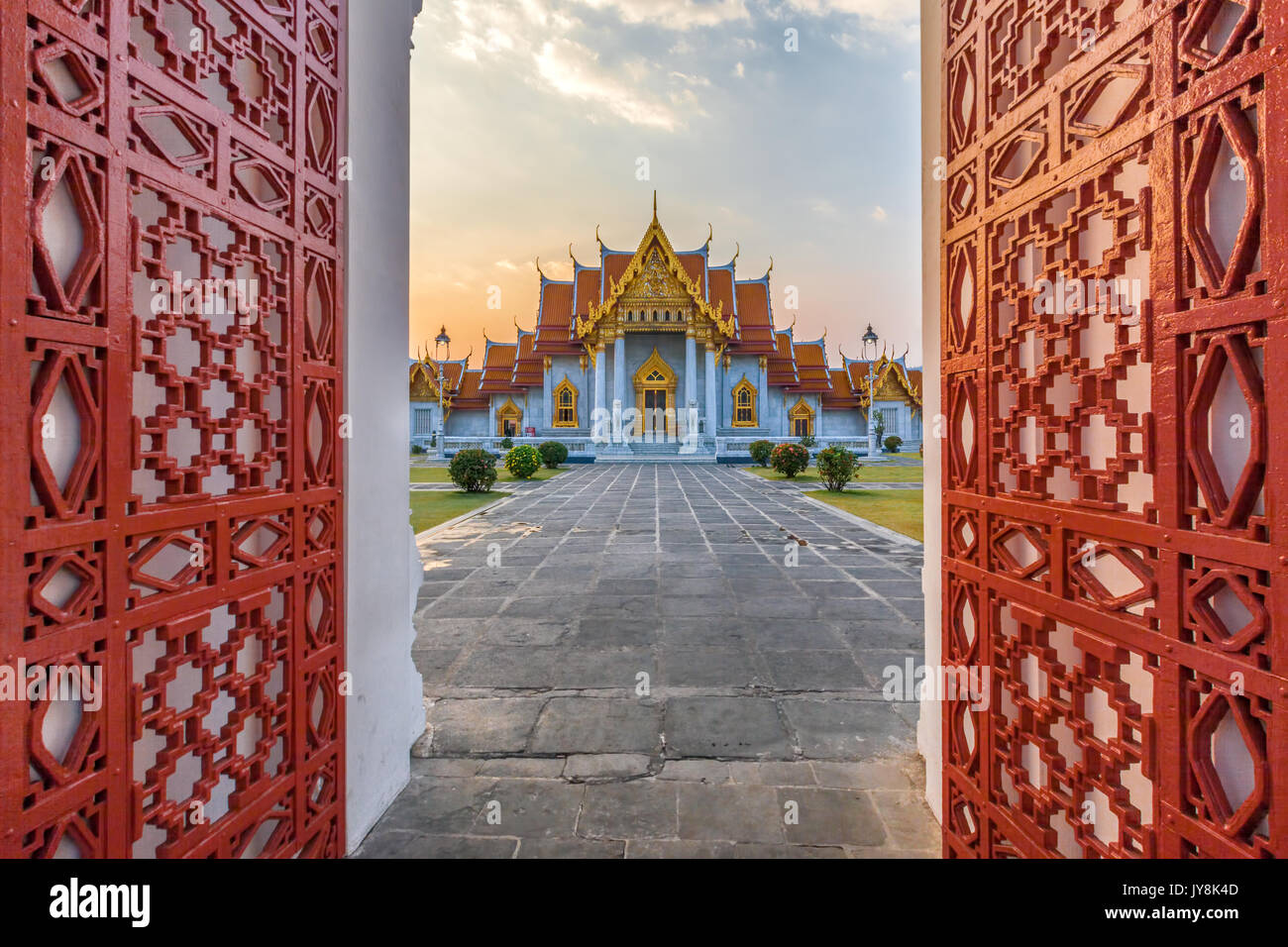 Entrance at the Marble Temple, Wat Benchamabophit, Bangkok, Thailand - Stock Image