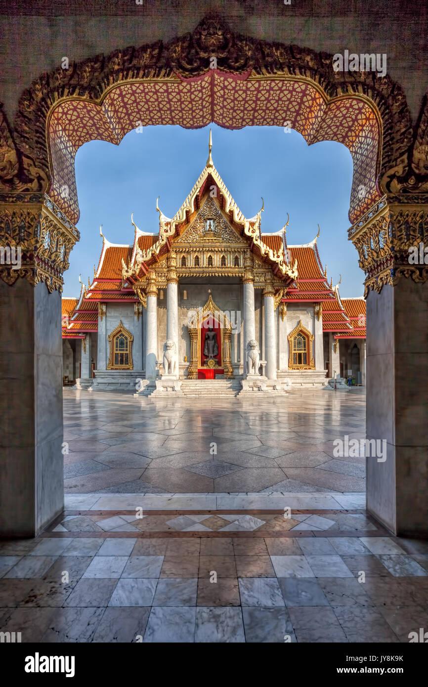 The Marble Temple, Wat Benchamabophit, Bangkok, Thailand - Stock Image