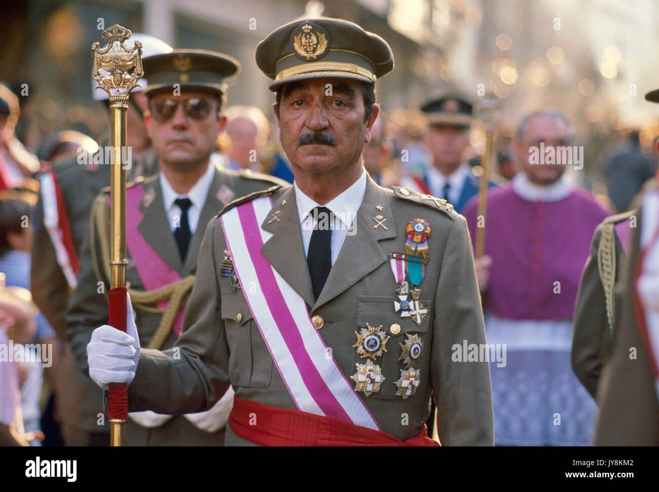 Spain, army officers during the celebrations of the Holy Week of Easter in Seville - Stock Image