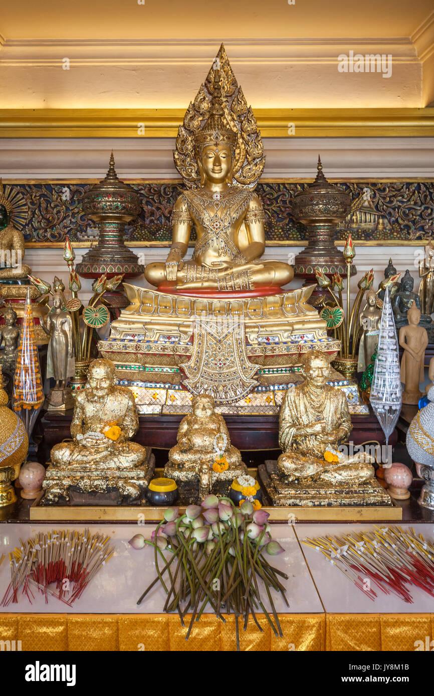 Buddha statue at Wat Saket temple, Golden Mount or Mountain, Bangkok, Thailand - Stock Image