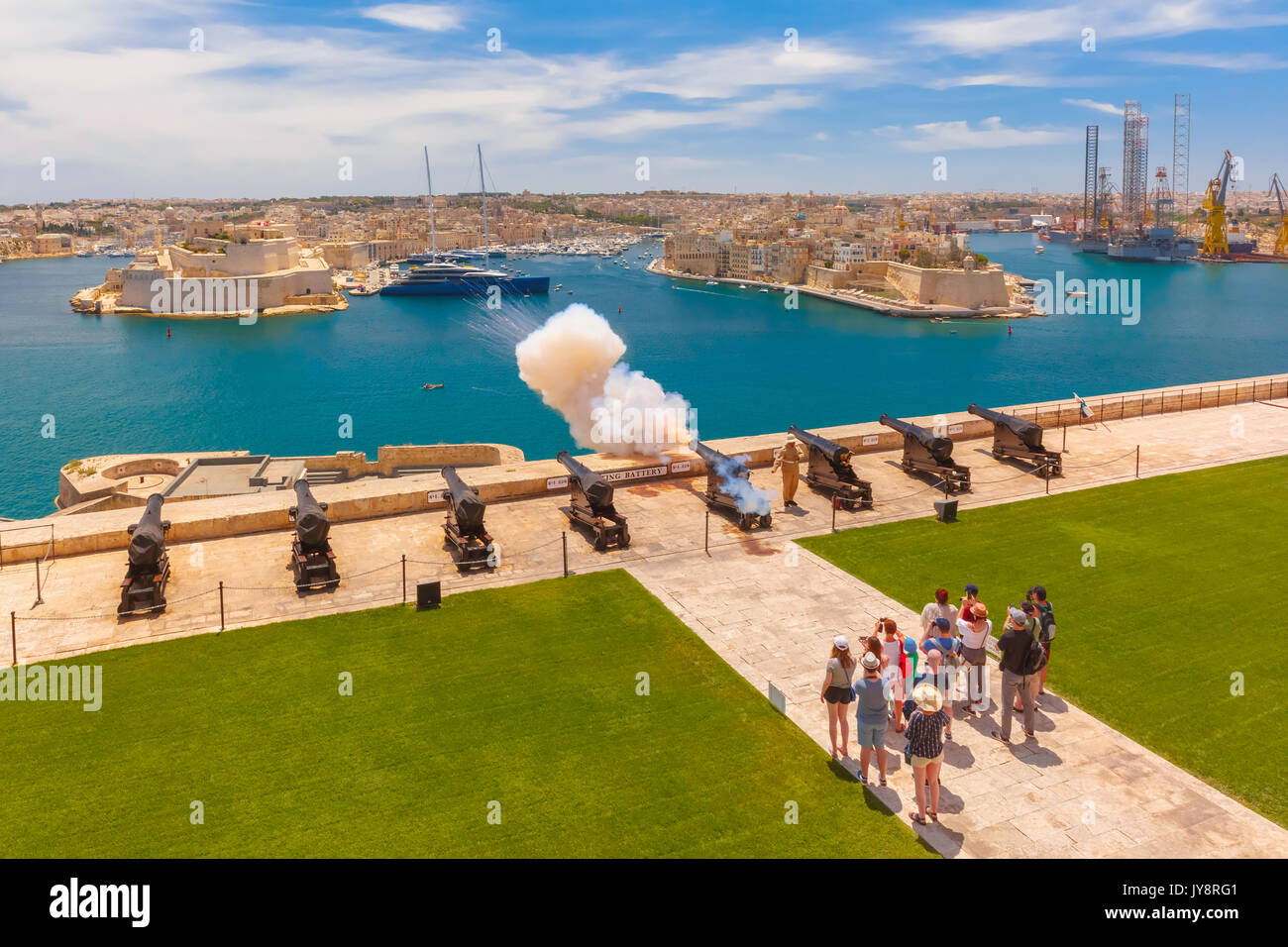 Shot from cannon in Valletta, Malta. Stock Photo
