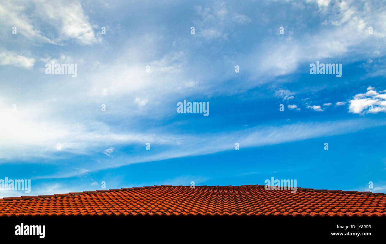 Skyscape with the rooftop as the pathway. - Stock Image