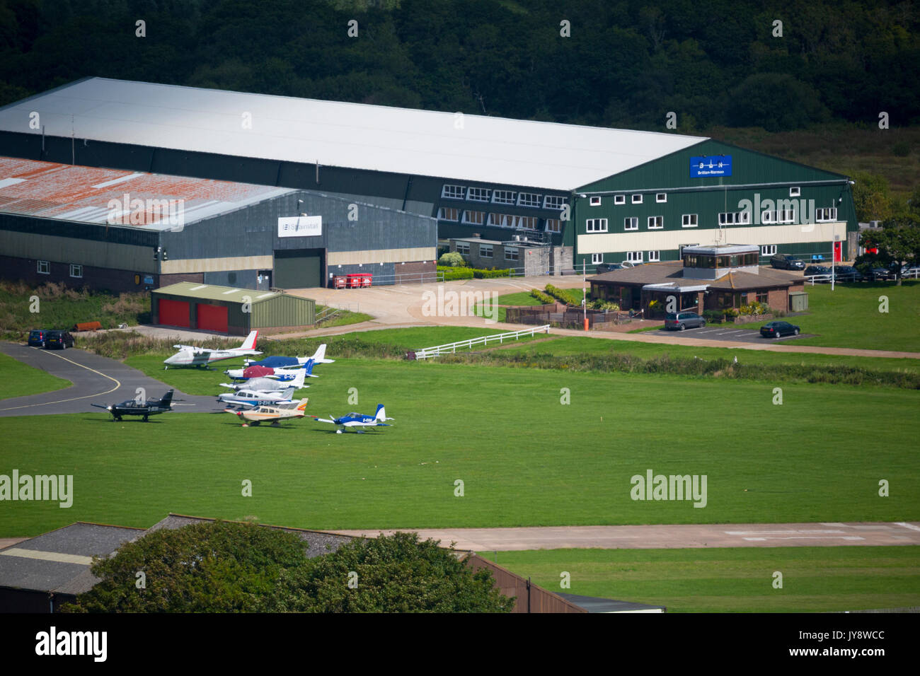 Brittan, Norman, Ltd, Aeroplane, Manufacturer, Bembridge, Airport, Isle of Wight, England, UK, - Stock Image