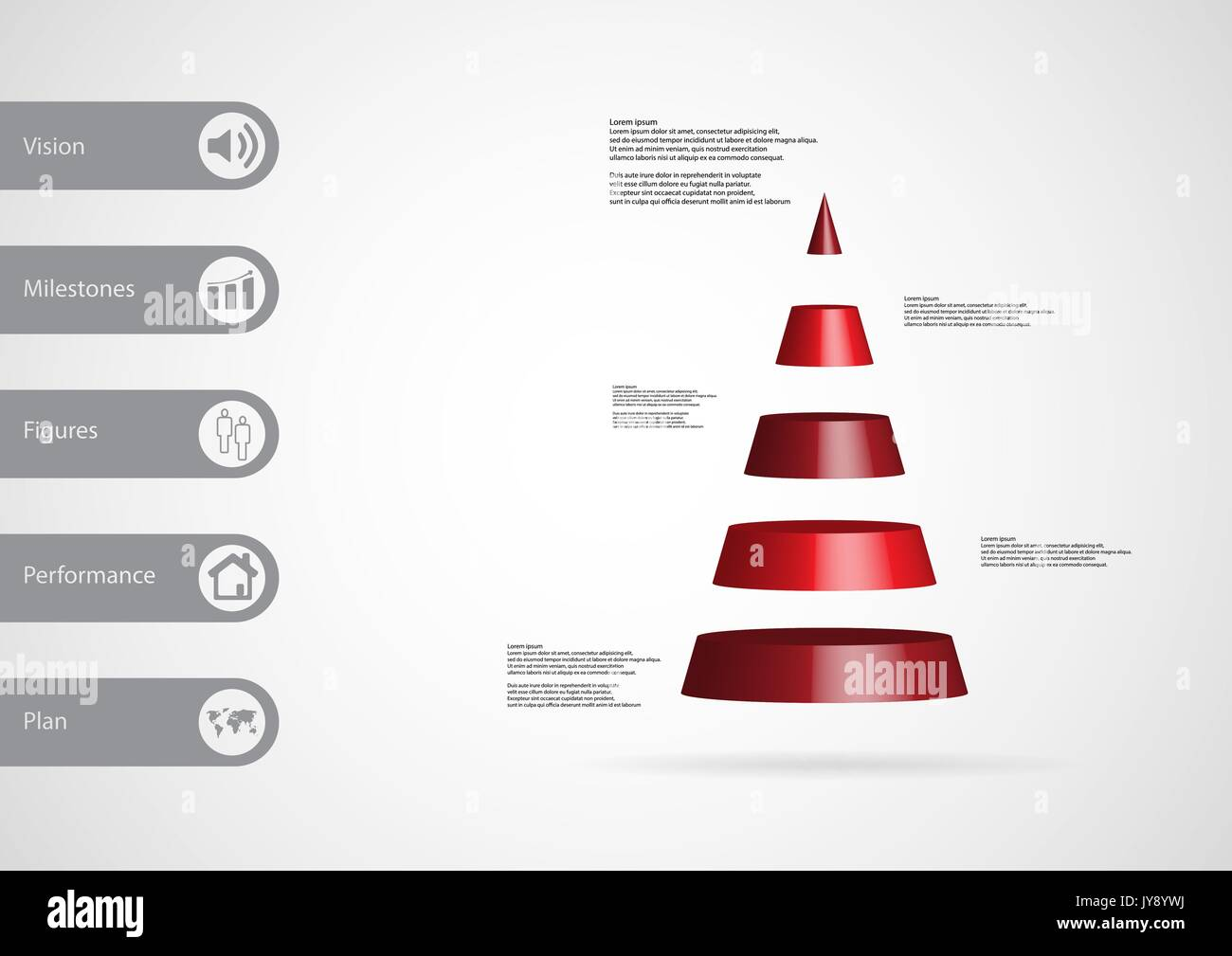3D Illustration Infographic Template With Motif Of Cone Triangle Horizontally Divided To Five Red Slices Simple Sign And Sample Text On Side In B