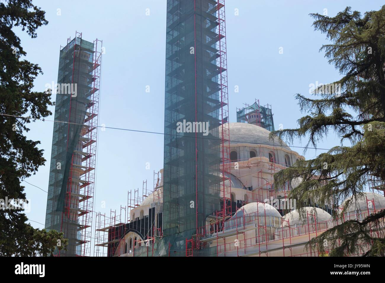 The Great Mosque in the center of Tirana, which is currently under construction. Albania, Southeast Europe. - Stock Image