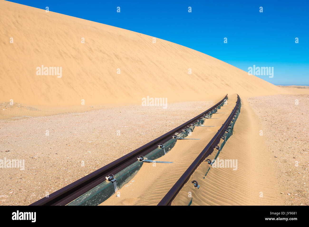 Railway tracks after sand storm, Namibia - Stock Image